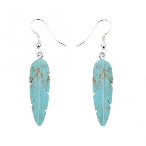 boucles d 39 oreilles plumes turquoise et argent boutique vintage. Black Bedroom Furniture Sets. Home Design Ideas