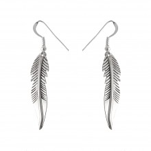 Boucles d'oreilles grandes plumes argent made in USA