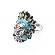 Bague tête indien argent et pierres made in USA T52