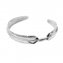 Bracelet plume manchette en argent made in USA
