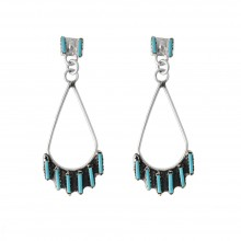 Boucles d'oreilles goutte argent et turquoise made in USA