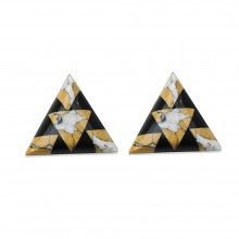 Boucles d'oreilles triangle pierres jaunes USA