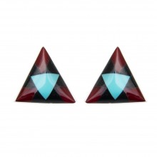 Boucles d'oreilles triangulaires pierres turquoise USA