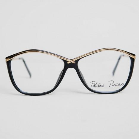 3315e6e8478353 Lunettes vintage Paloma Picasso noires et dorées, verres transparents,  modèle d expo,