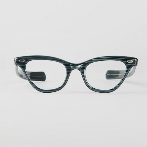 75c9270d3ecd86 lunettes vintage femme collector rockabilly cat eyes striees bleu et noir  liberty annees