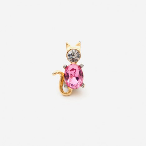 Pin's kitsch chat strass et rose