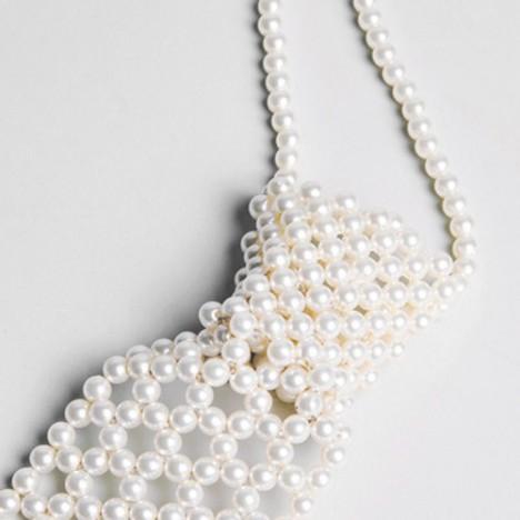 la plus récente technologie Prix de gros 2019 publier des informations sur Cravate vintage pour femme en perles blanches années 70