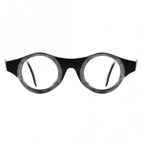 c4eb463899 Lunettes vintage IDC noire et grise forme ronde prof de dessin années ...