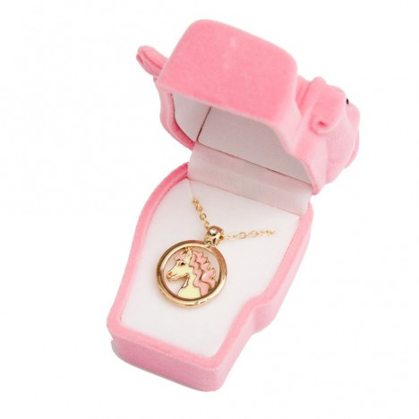 Collier kitsch petit Poney rose