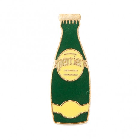 Pin's vintage bouteille Perrier jaune
